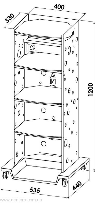 Медицинский столик Панок-4  электрофицированный для инструментов и приборов - 2