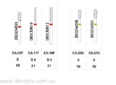 Алмазные турбинные боры серии EX (спецформа), упаковка 5 шт - 1