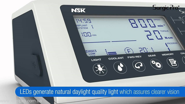 Физиодиспенсер Surgic Pro OPT (NSK) с LED-светом и наконечником 20:1 (кнопочный) - 7