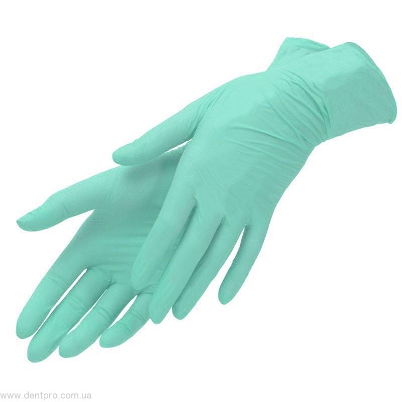 Нитрилекс зеленые (Nitrylex Green), нитриловые смотровые неопудренные перчатки, упаковка 100шт (50 пар) - 1