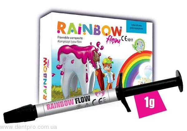 RAINBOW FLOW (Рейнбоу Флоу) цветной жидкотекучий композит, набор: 6 шприцев по 1г - 1