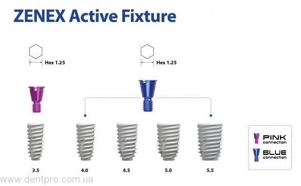 Имплант дентальный Zenex Active S.L.A., blue ∅ 5.5мм, Zenetoni - 1