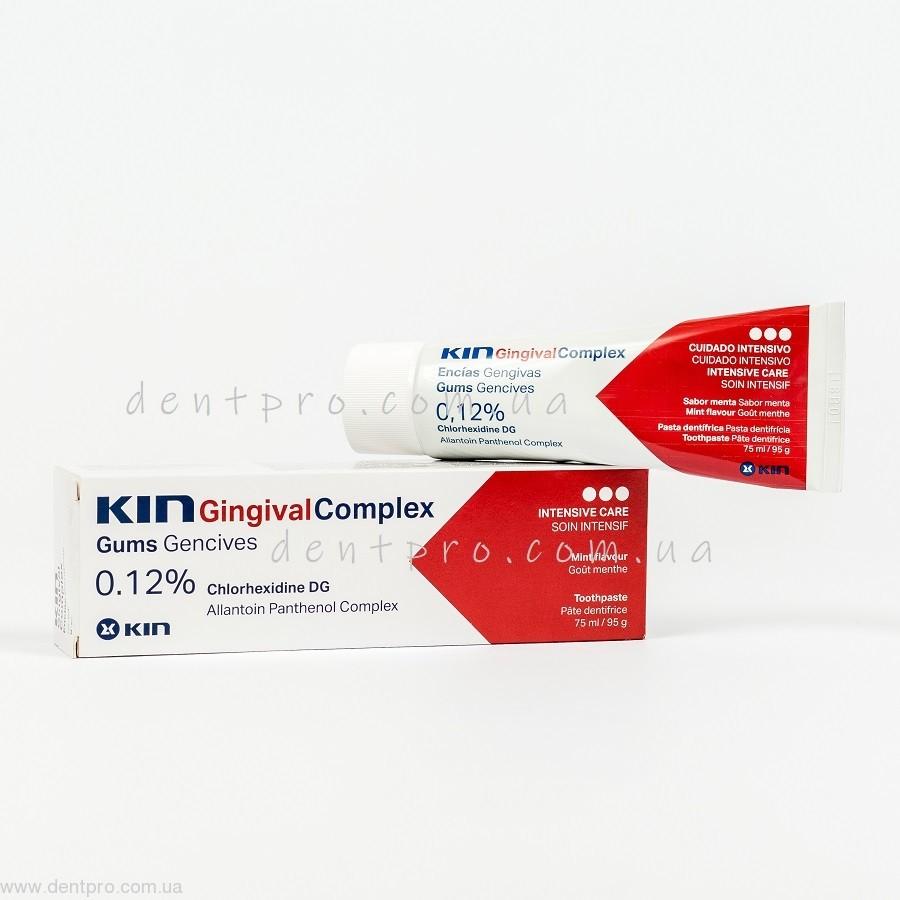 Зубная паста Кин Гингивал Комплекс (Kin Gingival Complex, Испания), на основе 0.12% хлоргексидина, тюбик 75мл - 1
