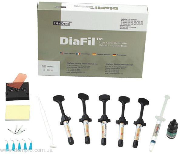 Диафил (Diafil) набор: 5 шприцев с адгезивной системой, светоотверждаемый композиционный материал для реставраций - 1