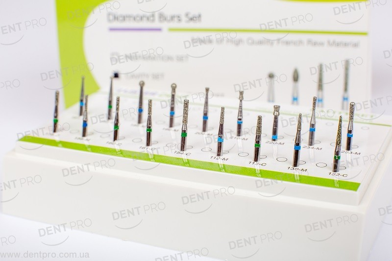 Набор алмазных боров для полостей (Cavity Set) для турбинного наконечника, 18 шт в органайзере - 1